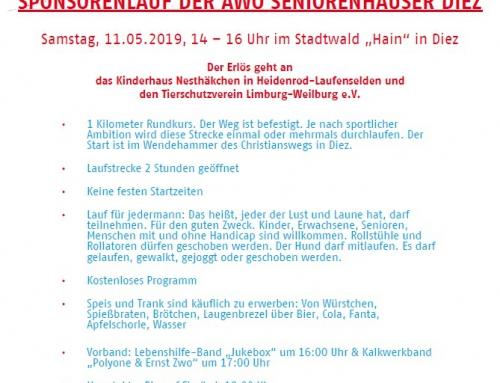 """Sponsorenlauf der AWO Seniorenhäuser Diez am Samstag, 11.05.2019, 14 – 16 Uhr im Stadtwald """"Hain"""" in Diez"""