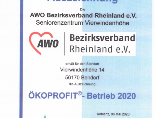 AWO Seniorenzentrum Bendorf: Wir wurden mit dem ÖKOPROFIT ausgezeichnet!